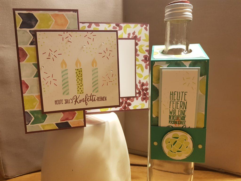 Karte, Flaschenanhänger, StampinUp, Perfekter Geburtstag, Frühjahrskatalog 2018